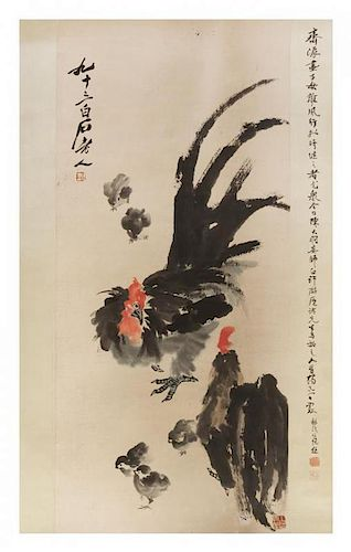 After Qi Baishi, (1864-1957), Roosters