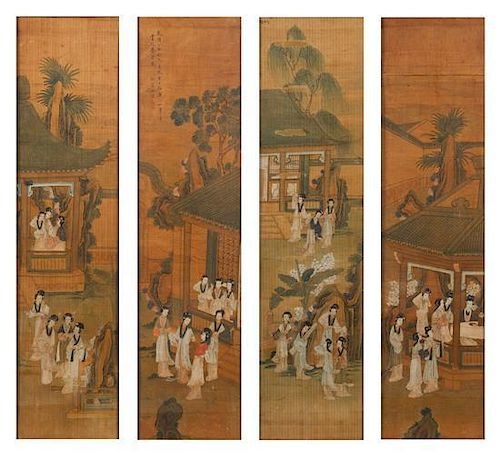 * Attributed to Yu Ji, (1738-1823), depicting ladies of leisure in a garden scene with pavilion and plantain trees.