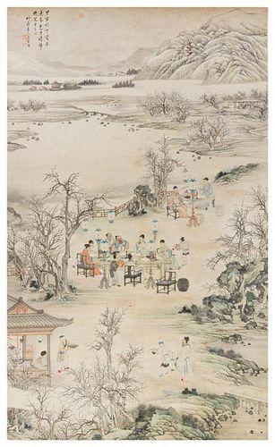 * Attributed to Shangguan Zhou, (1665-circa 1750), Scholars in Riverscape Scene