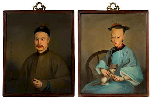 * A Set of Two Portraits, DAOGUANG PERIOD (1821-1850), finely painted on one depicting a Qing Dynasty official seated wearing in