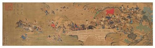 Attributed to Shen Shiru, Shen Shijie, QING DYNASTY, depicting a battle scene having Qing court officials defeating the barbaria