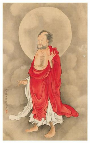 Attributed to Pu Ru After Pu Ru, (Chinese, 1896-1963), depicting a standing luohan figure, wearing draped robes.
