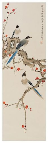 * Yu Zhizhen, (1915-1995), Birds Perched on Flowering Prunus Branches