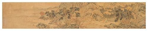 Attributed to Zhang Zongcang, (Chinese, 1686-1756), depicting figures in mountainous landscape with houses and trees emerging fr