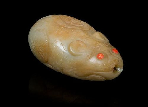 * A Carved Jade Snuff Bottle Length 3 1/4 inches.