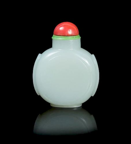 A Jade Snuff Bottle POSSIBLY 19TH CENTURY Height 2 1/2 inches.