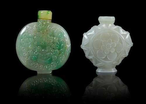 * Two Carved Snuff Bottles Height of taller 2 1/2 inches.