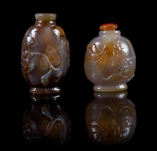 * Two Agate Snuff Bottles Height of taller 3 1/8 inches.