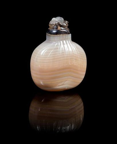 A Banded Agate Snuff Bottle Height 2 5/8 inches.