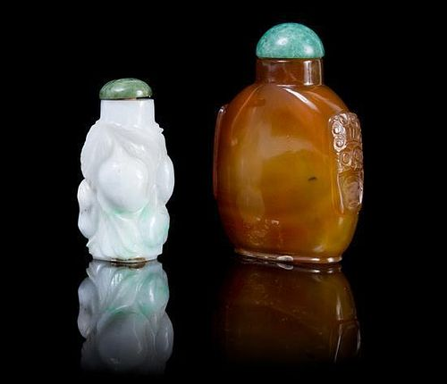 Two Hardstone Snuff Bottles Height of taller 3 inches.