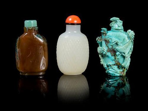 A Group of Three Hardstone Snuff Bottles LIKELY 19TH CENTURY Height of tallest 3 inches.