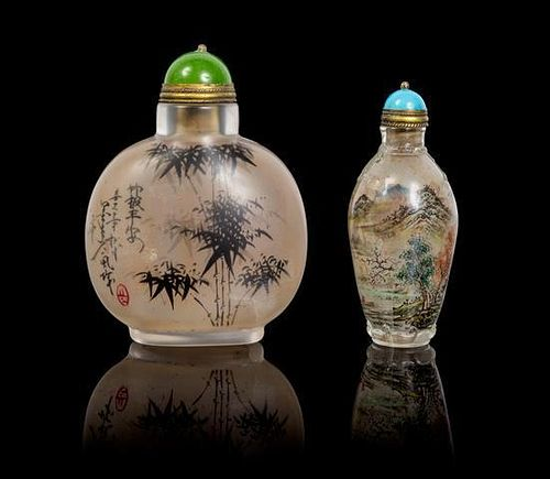 * Two Inside Painted Glass Snuff Bottles Height of taller 3 3/8 inches.