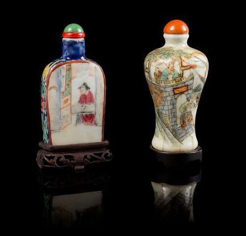 * Two Famille Rose Porcelain Snuff Bottles LIKELY 19TH CENTURY Height of taller 3 3/4 inches (with stand).