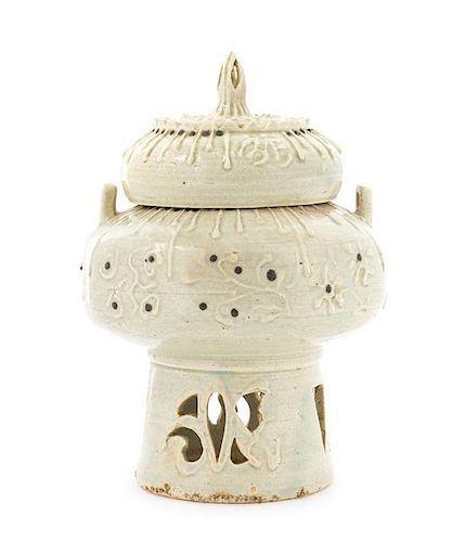 * A Korean Celadon Glazed Stoneware Censer Height 9 1/4 inches.