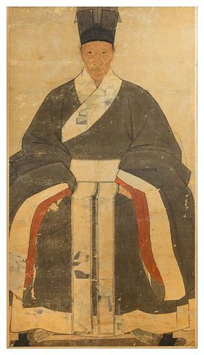 * A Korean Portrait of an Official, , the figure seated wearing voluminous draped robes and a high official's hat, the face with