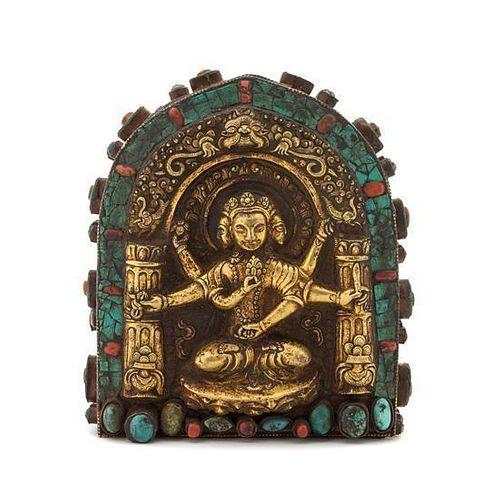 A Tibetan Buddhist Shrine Height 7 1/2 inches.