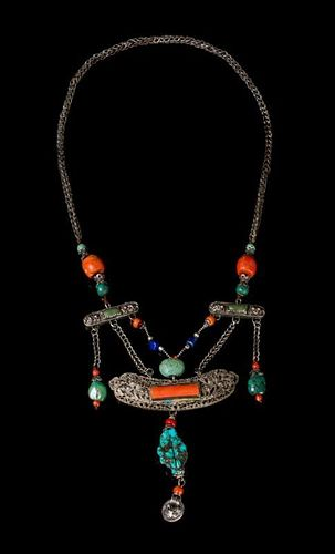 * A Tibetan Silver and Hardstone Necklace Length 23 inches.
