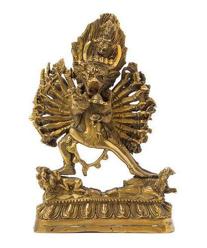 A Tibetan Gilt Bronze Figure of a Bodhisattva Height 7 inches.