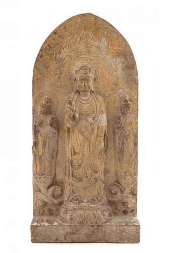 * A Carved Stone Buddhist Stele Height 26 x width 12 1/2 inches.