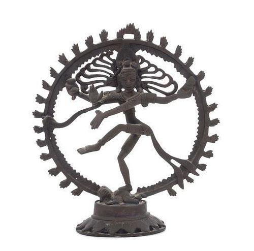 * An Indian Bronze Figure of Shiva Nataraja Height 10 1/2 inches.