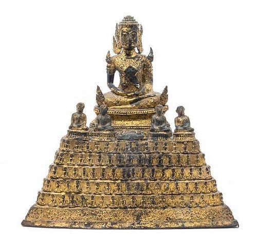 * A Thai Gilt Bronze Figure of Buddha Height 11 1/2 x width 11 1/2 inches.