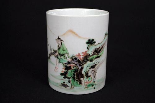 Five Colored Landscape and Figure Porcelain Brush Pot, Da Qing Kang Xi Nian Zhi Mark