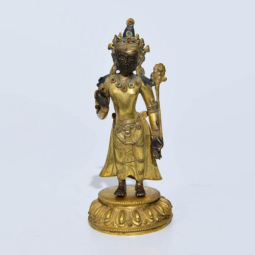A Bronze Nepalese Style Standing Figure Of Buddha