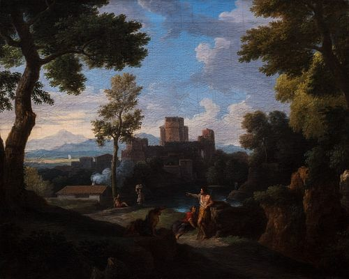 Jan Frans  van Bloemen, detto L'Orizzonte (Anversa 1662-Roma 1749)  - Landscape of Lazio with the sermon of the Baptist and a turreted village in the