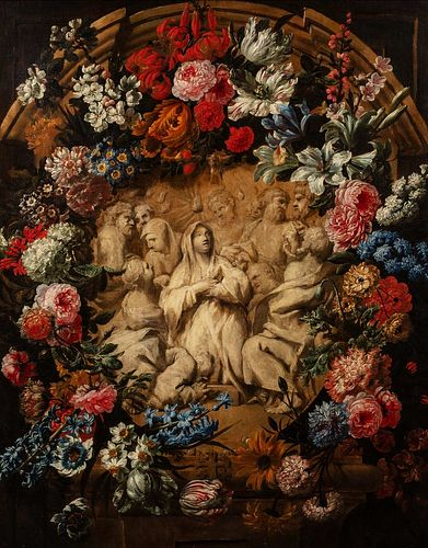 Nicola van Houbraken (Messina 1668-Livorno 1723)  - Trompe-l'oeil with marble bas-relief depicting Pentecost within a garland of flowers