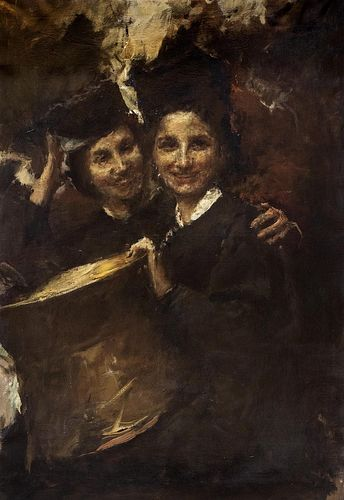 Antonio Mancini (Roma 1852-1930)  - The two sisters