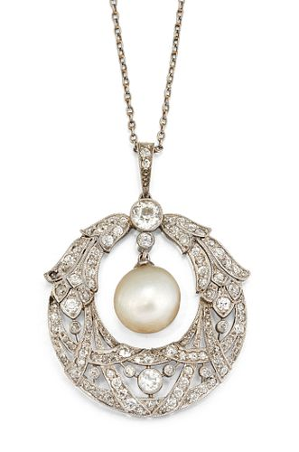 A BELLE EPOQUE DIAMOND AND CERTIFIED NATURAL SALTWATER PEAR