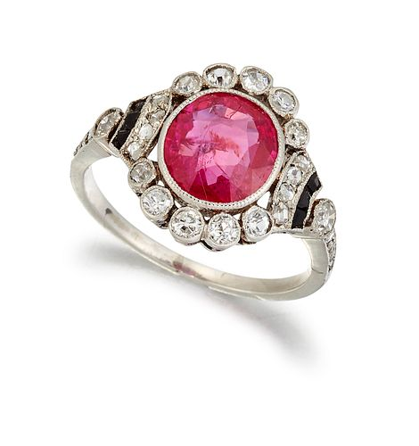A CERTIFIED BURMESE RUBY, DIAMOND AND ONYX CLUSTER RING, th