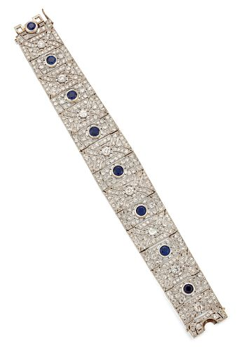 AN ART DECO SAPPHIRE AND DIAMOND BRACELET, the slightly tap