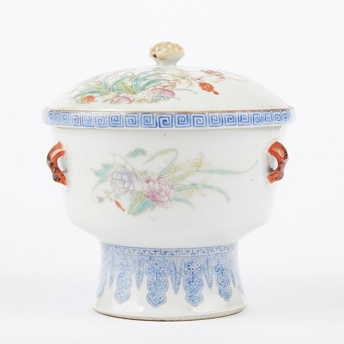 20th c. Republic Chinese Porcelain Famille Rose Warming Dish