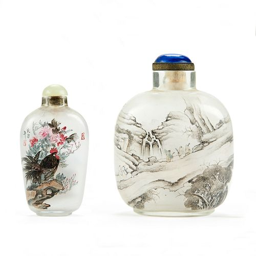 Grp: 2 Chinese Inside Painted Glass Snuff Bottles