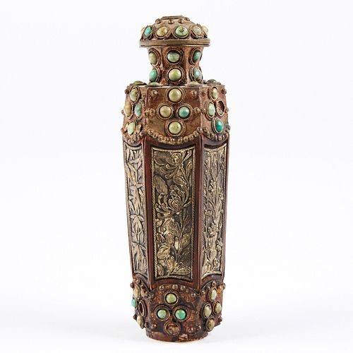Chinese Turquoise and Silver Snuff Bottle