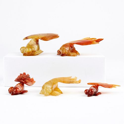 Grp: 5 Chinese Carnelian Carved Goldfish