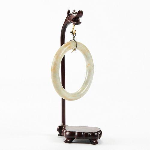 Chinese Carved Jade Bangle Bracelet - Stand