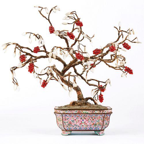 Chinese Gem & Hardstone Tree in Enameled Planter