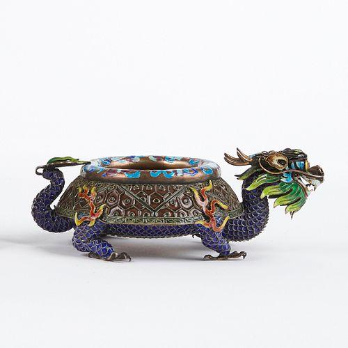 20th c. Chinese Republic Enameled Silver Dragon