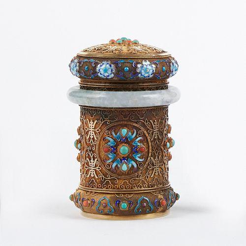 Chinese Republic Enameled Silver Gilt Tea Caddy w/ Jade Bangle