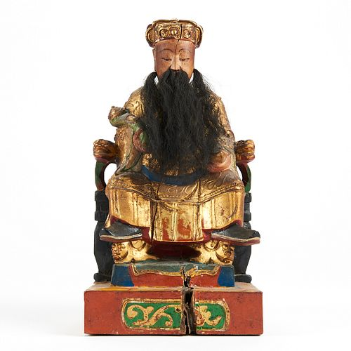 Chinese Carved Polychrome Deity Tu Di Gong