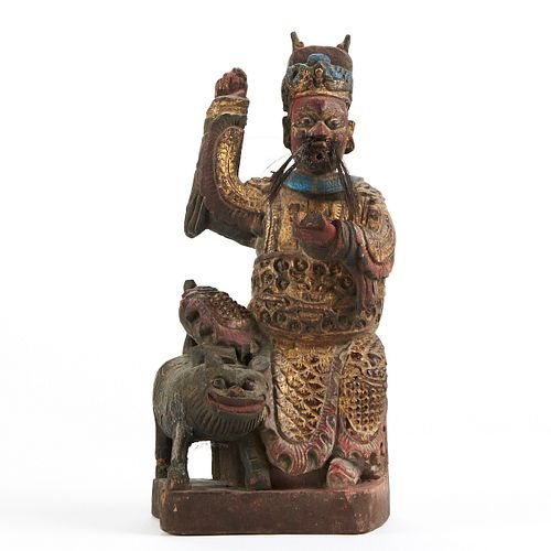 Early Carved Chinese Painted Deity w/ Foo Lion