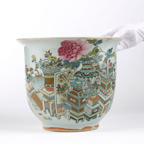 Chinese Late Qing Famille Rose Porcelain Jardiniere Planter
