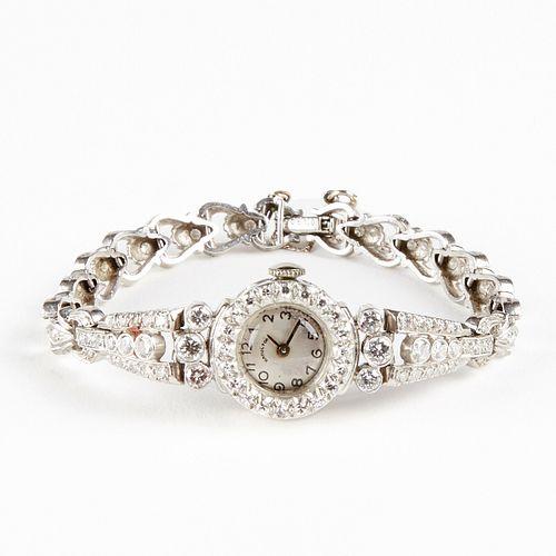 20th c. Platinum Hamilton Retrofitted Quartz Watch