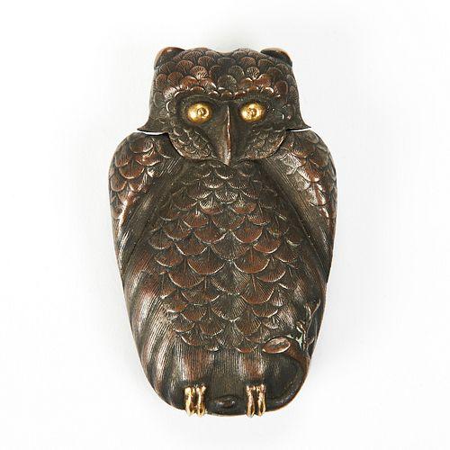 19th c. Copper Figural Owl Match Safe