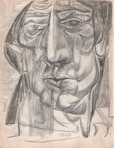 Portrait of a Man, Graphite Drawing 1949 by  John Ulbricht