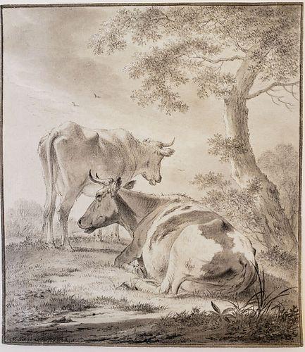 "JOHANNES JANSON, Ambon 1729-1784 Leiden, ""Cattle Under a Tree"" - Courtesy Decouvert"