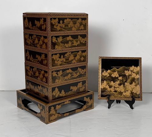 Japanese Maki-e Lacquer Stacking Box, Jubako, Meiji Period, Japan - Courtesy Lotus Gallery