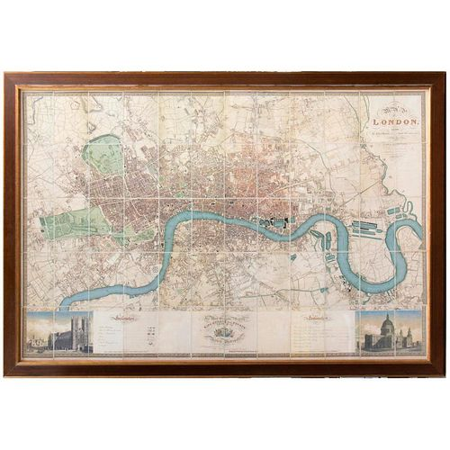 Framed Christopher Greenwood Map of London printed in six sheets 1824-26